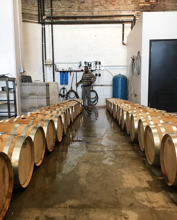 Assistant Distiller, Fred, preps barrels to be filled for Batch 3