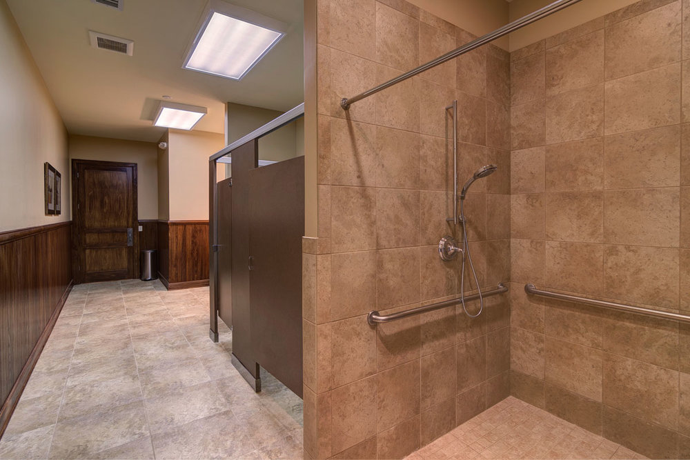 The clubhouse restrooms and showers