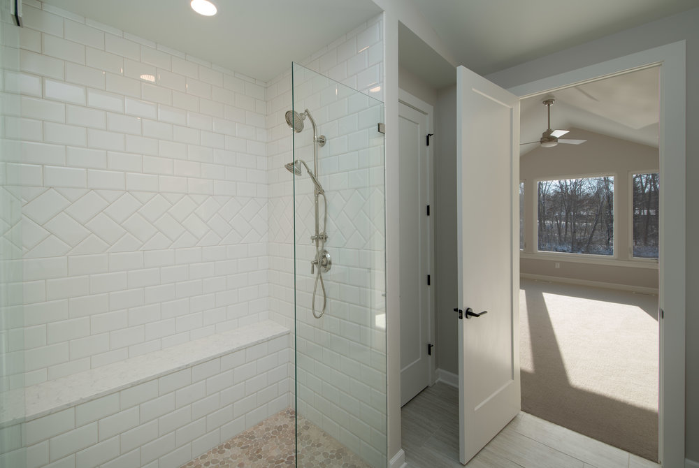 Subway tile detail and built-in bench
