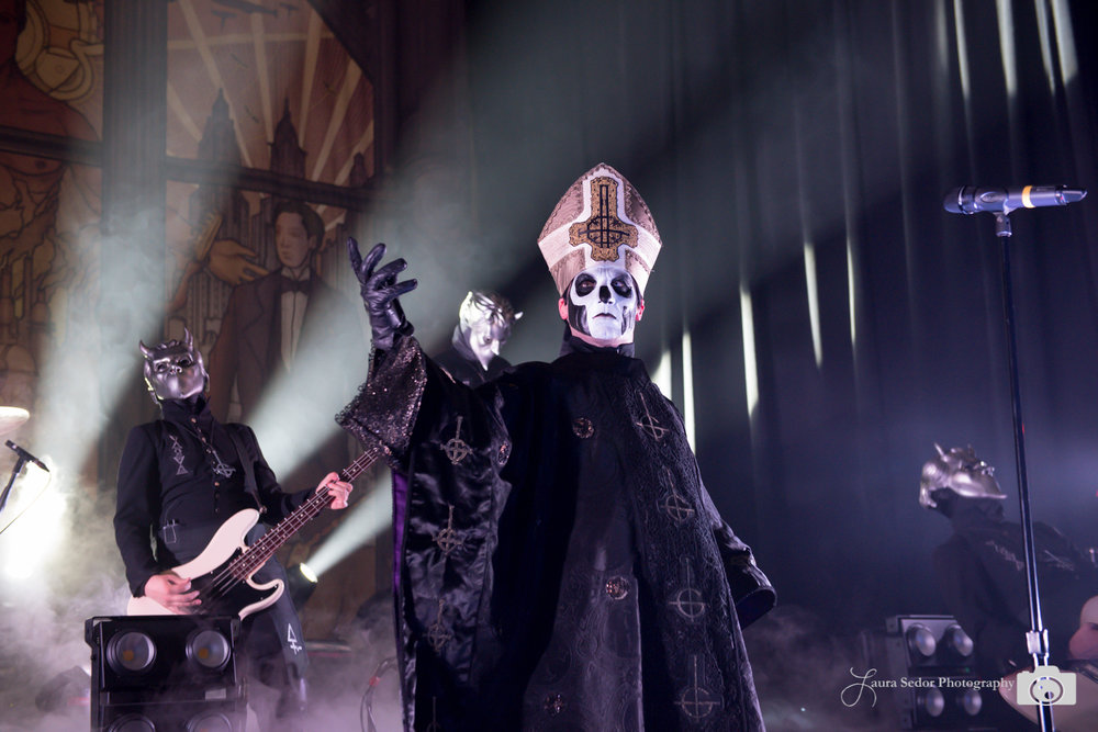 """I love the drama of a heavy metal act with costumes. Every photo is telling a story, and looks so different from your average rock show. Ghost had just won a Grammy a month or so back and there was a huge crowd. So fun. I'm a fan of metal."""