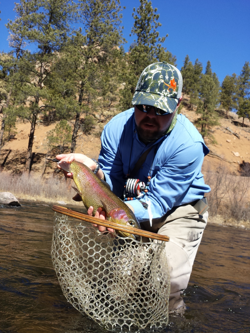 Head Guide Luke Martin with a South Platte Rainbow Trout