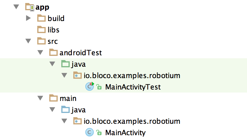 Android Studio folders for testing
