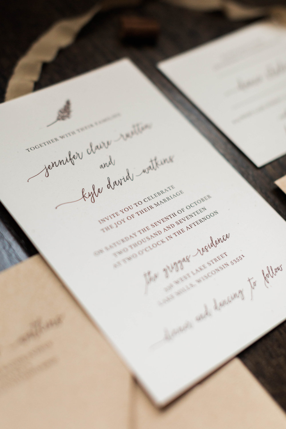 Real Wedding: Invitations for a Tiny Dancer — Four Hats Press