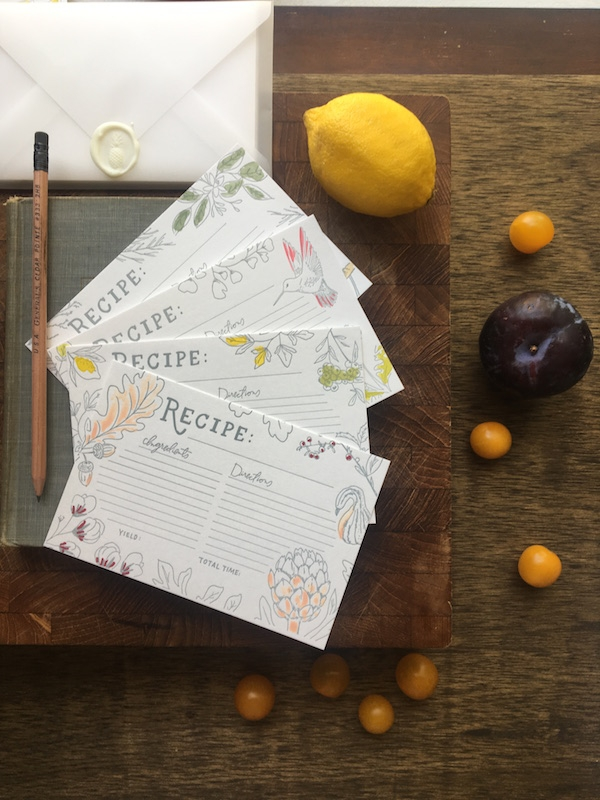 Four Hats Press Letterpress Recipe Cards