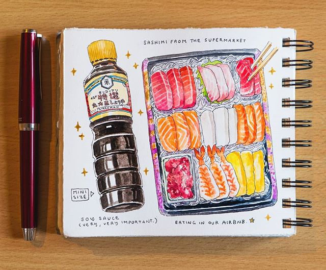 🐙 Sashimi! Twice in Japan we've had to run to the konbini for mini soy sauce bottles because they don't seem to come with the sachets like they do in Singapore. 😂 The best part of traveling is sometimes just buying food from supermarkets or convenience stores and eating them in your own accommodation. 😄 ------------------------------------------------ #artistsoninstagram #dibujo #japanesefood #昼食 #illustration #instaart #グルメ #illust  #aquarelle #creative #飯テロ #artoftheday #らくがき #イラストレーション  #絵 #sgfoodies #イラスト #수채화  #tokyo #満腹#fountainpen  #魚#foodillustration #おいしい #夕食 #水彩 #artofvisuals #美味
