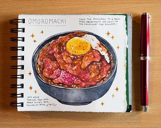 [Japan Trip Food Journal] [🌺Okinawa Edition 🌺] Beef steak layered over rice, topped with horseradish sauce and egg. I'm drooling thinking about it 😳 . Had it in a food court in Naha, near Omoromachi station. ----------------------------------------------- #artistsoninstagram #dibujo #japanesefood #昼食  #illustration #instaart #グルメ #illust  #aquarelle #creative #飯テロ #artoftheday #らくがき #イラストレーション  #絵 #sgfoodies #イラスト #수채화  #牛丼 #満腹 #fountainpen  #肉 #foodillustration #おいしい #夕食 #水彩 #美味 #朝