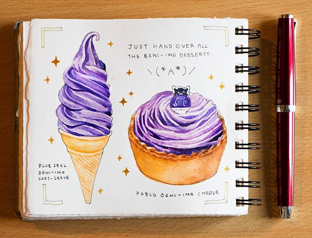 Beni-imo soft serve from Blue Seal ice cream, and Beni-imo cheese tart from Pablo. Yes, if you like sweet potato, Okinawa is the place to be. 😆 Also, I have many love-hate feelings for painting soft serve ice creams. ------------------------------------------------ #artistsoninstagram #arte #dibujo #creative #instaart #デザート#instaart #illust  #aquarelle #朝 #japanesefood #artoftheday #らくがき #イラストレーション  #絵 #食べ物  #おやつ #イラスト #수채화 #おいしい #スイーツ  #ソフトクリーム #美味 #今日のおやつ #芋 #sweettooth #patisserie #foodillustration #チーズタルト