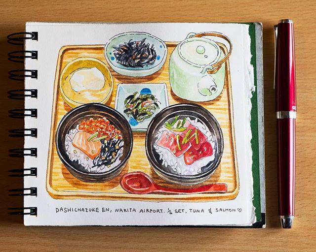お茶漬け Ochazuke! Nestled in Narita Airport is Dashichazuke, a cozy restaurant serving a variety of ochazuke sets. Have it dry, or pour some tea soup over your rice! I love how you can enjoy it in so many ways. I had a half-half set (perfect for indecisives like me) with salmon-ikura and marinated tuna. 🤣 This is a great place for a very traditionally Japanese meal just before taking off for a flight! ------------------------------------------------ #artistsoninstagram #dibujo #japanesefood #昼食 #illustration #instaart #グルメ #illust  #aquarelle #creative #飯テロ #artoftheday #らくがき #イラストレーション  #絵 #お茶漬け #イラスト #수채화  #tokyo #満腹#fountainpen  #定食 #foodillustration #おいしい #夕食 #水彩 #sgfoodies #美味