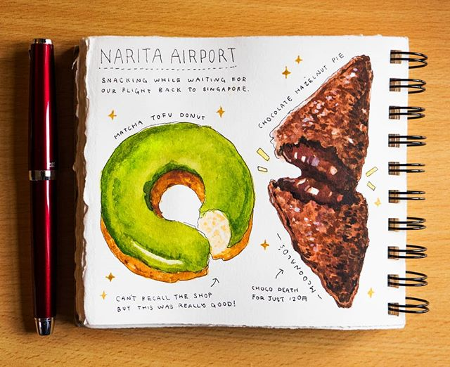 We're nearing the end of my Japan trip food journal! This time featuring snacks from Narita Airport I tried while waiting for our flight back home. A soybean flour matcha donut and fried chocolate pie from McDonald's Japan. 😆 ---------------------------------------------- #artistsoninstagram #arte #dibujo #デザート #illustration  #グルメ #illust  #aquarelle #今日のおやつ #らくがき #イラストレーション  #絵 #食べ物  #イラスト #수채화 #スイーツ #sweettooth #おやつ #水彩 #fountainpen  #foodillustration #おいしい #おやつの時間 #creative #matcha