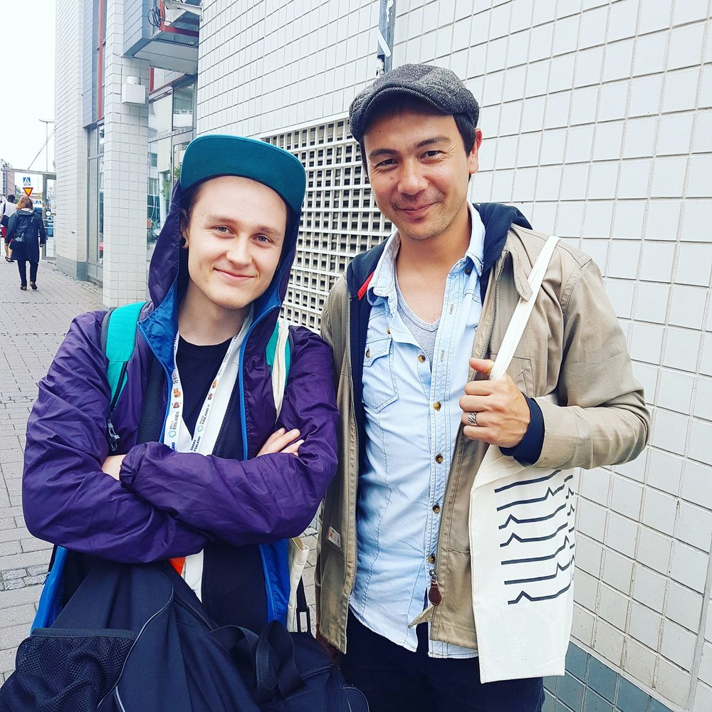 Justin Sweeting with producer and songwriter Karri Mikkonen.