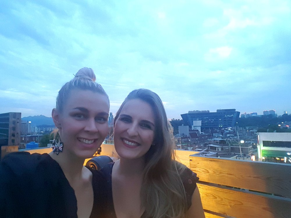 Rooftop party in Itaewon with Ina. Caraluna earrings by You Complete Me, bolero by Vestiarium.