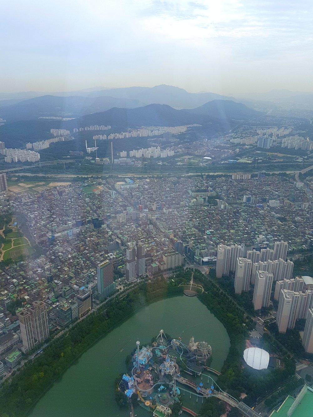 Seoul city and Lotte World amusement park.