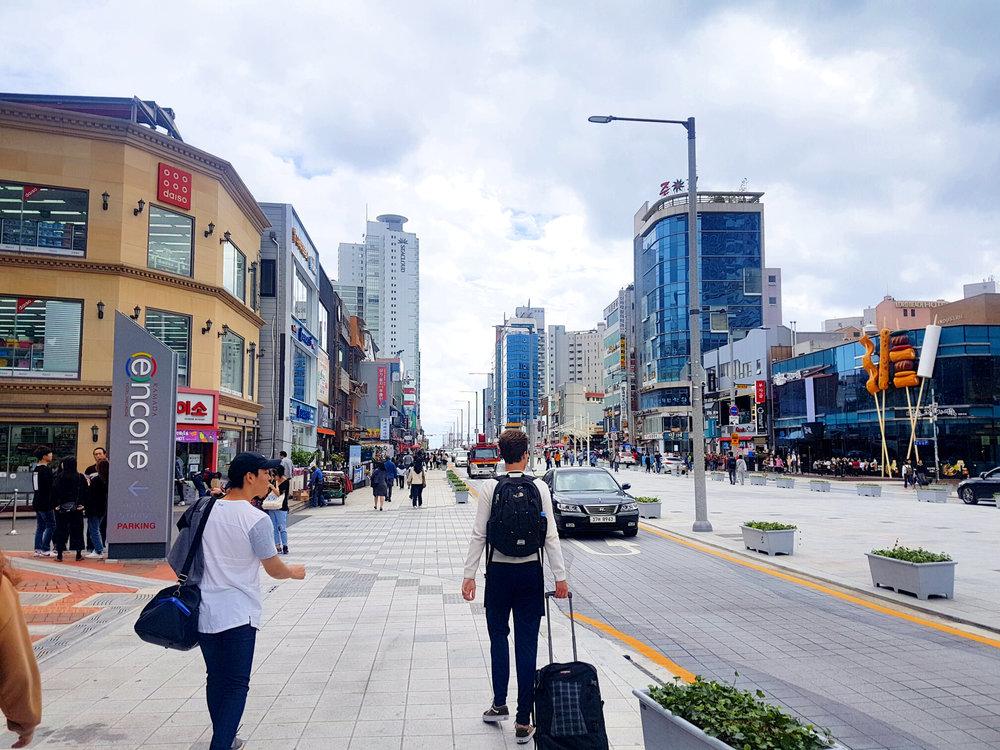 On our way to the Beach at Haeundae (해운대) main street.