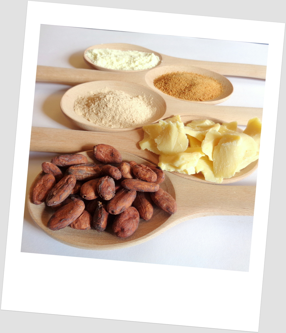 Our ingredients - Cocoa beans, cocoa butter, lucuma, coconut sugar and whole fat milk powder used in our Natural Blonde.
