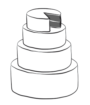 "4-tier wedding cake   - Starts at $400 - 12"" round, 10"" round, 8"" round, and 6"" round - each tier includes two layers of cake with a filling, simple fondant design."