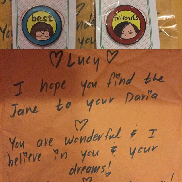 My #daria #pins came with the cutest little message on the envelope from @heartificialpins #heartificial #heartificialpins #janelane #dariamorgendorffer
