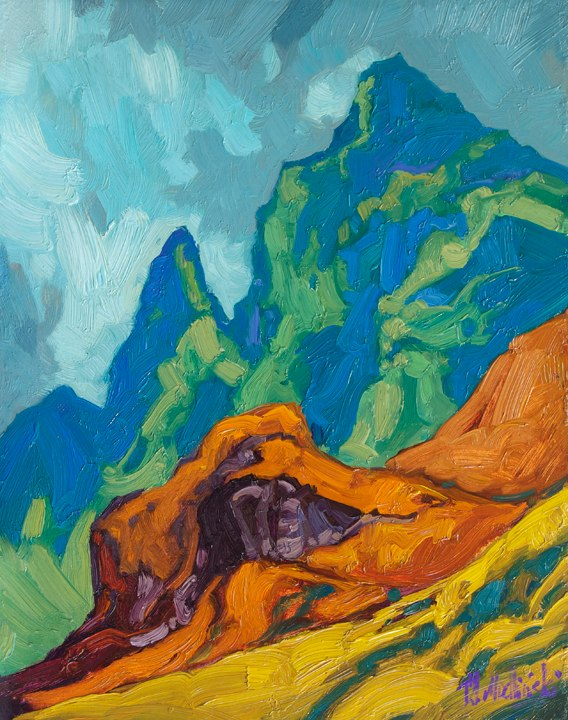 "Below the Summit 14"" x 11"" oil on board"