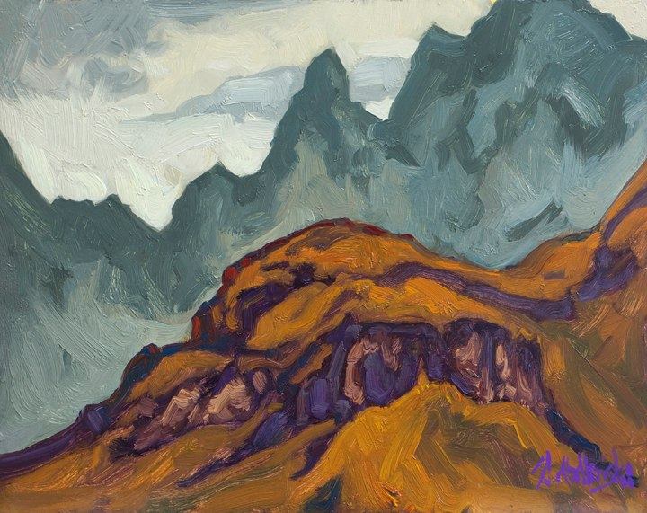 "Cathedral Peak 11"" x 14"" oil on board"