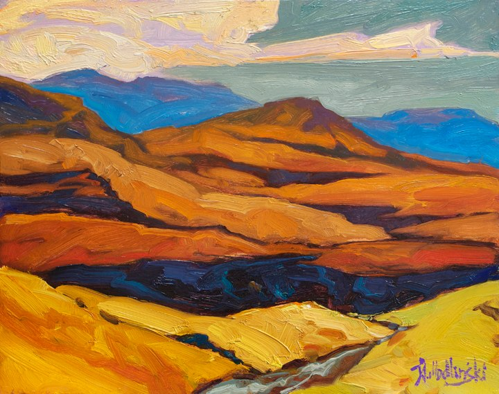 "Foothills of Drakensberg 11"" x 14"" oil on board"