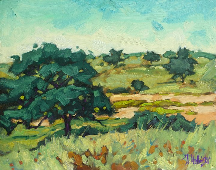 "On the Plains of Kalahari 11"" x 14"" oil on board"