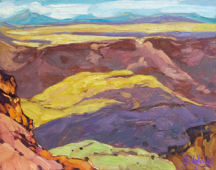 "Shadows over Fish River Canyon 11"" x 14"" oil on board"