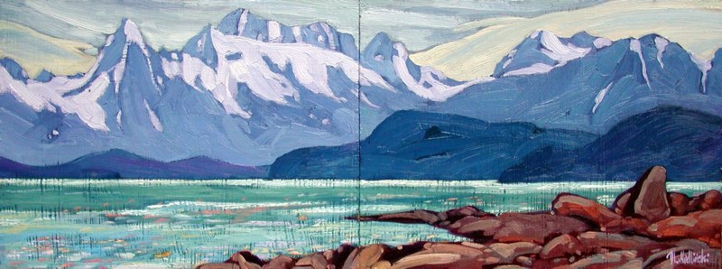 "Chilkat Range 32"" x 12"" oil on board SOLD"