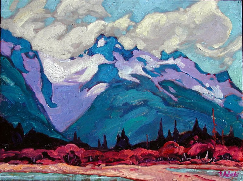 "Chilkoot River Delta 12"" x 16"" oil on board SOLD"