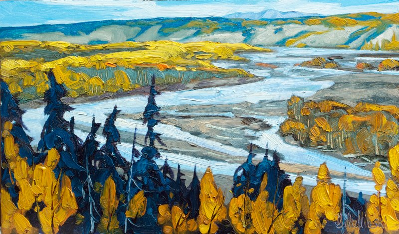 "Copper River Valley-Sketch 9.5"" x 16"" oil on board SOLD"