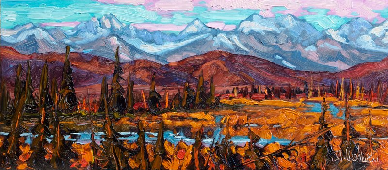 "Denali Range-Sketch 7"" x 16"" oil on board SOLD"