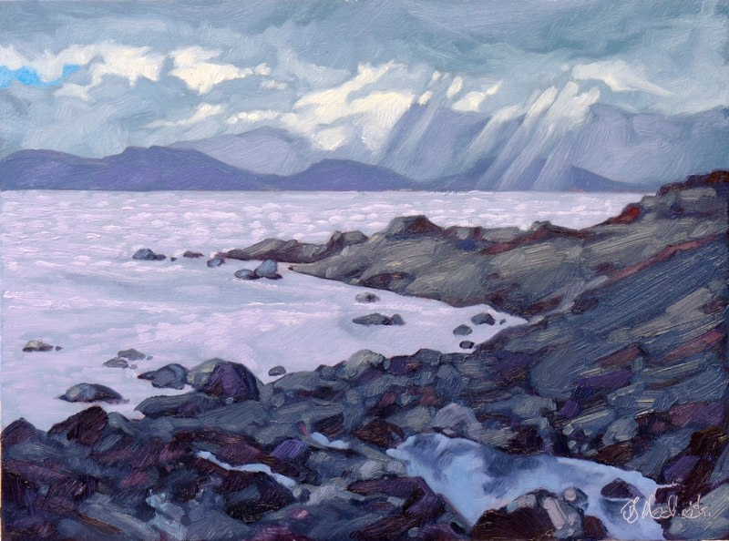 "Into the Glacier Bay 12"" x 16"" oil on board SOLD"