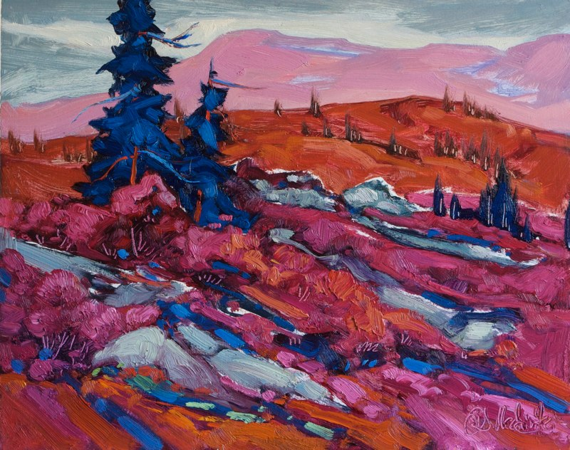 "Morning over the tundra 11"" x 14"" oil on board SOLD"