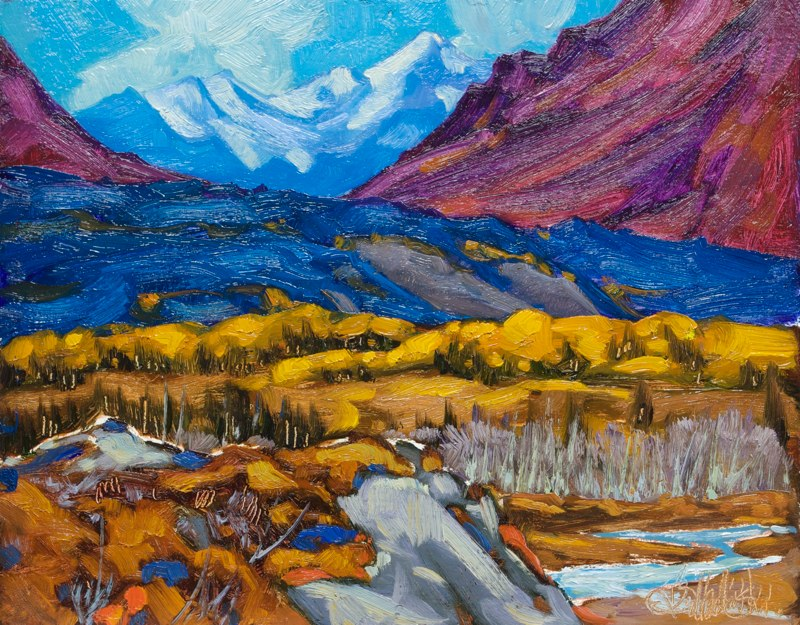 "Above Matanuska River 11"" x 14"" oil on board"