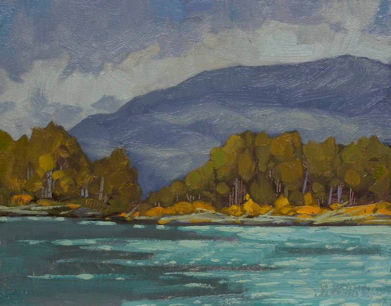 "Along the River 11"" x 14"" oil on board"