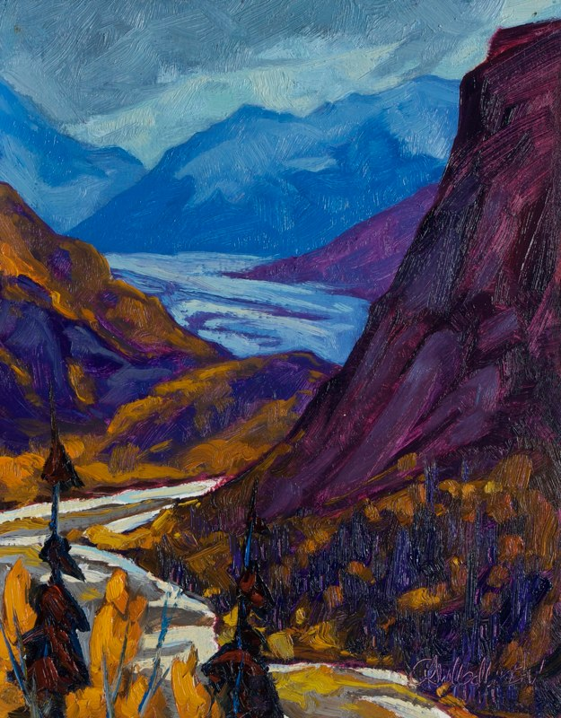 "Below Matanuska Glacier 14"" x 11"" oil on board"