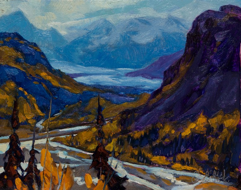 "In the heart of Chugach Mnts. 11"" x 14"" oil on board"