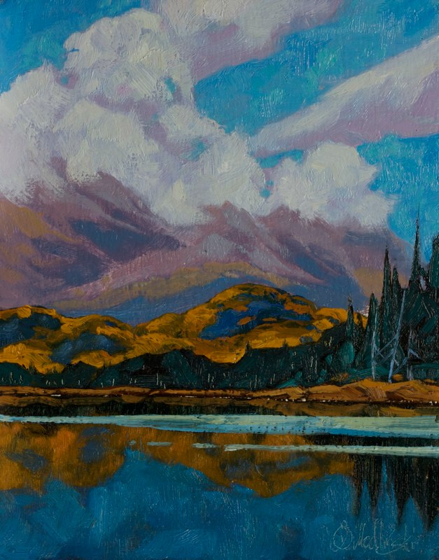 "Clouds over St. Elias 14"" x 11"" oil on board"
