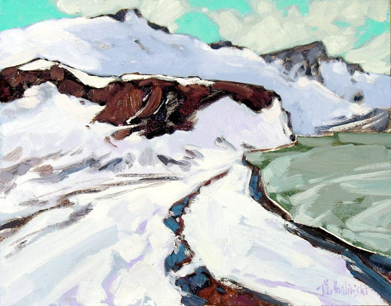 "Telefon Bay, Deception Island 11"" x 14"" oil on board SOLD"
