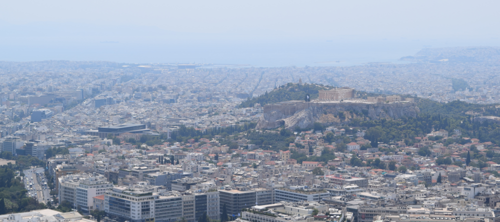 View of Athens from Mount Lycabettus.  The Acropolis is visible in the right half of the photo.