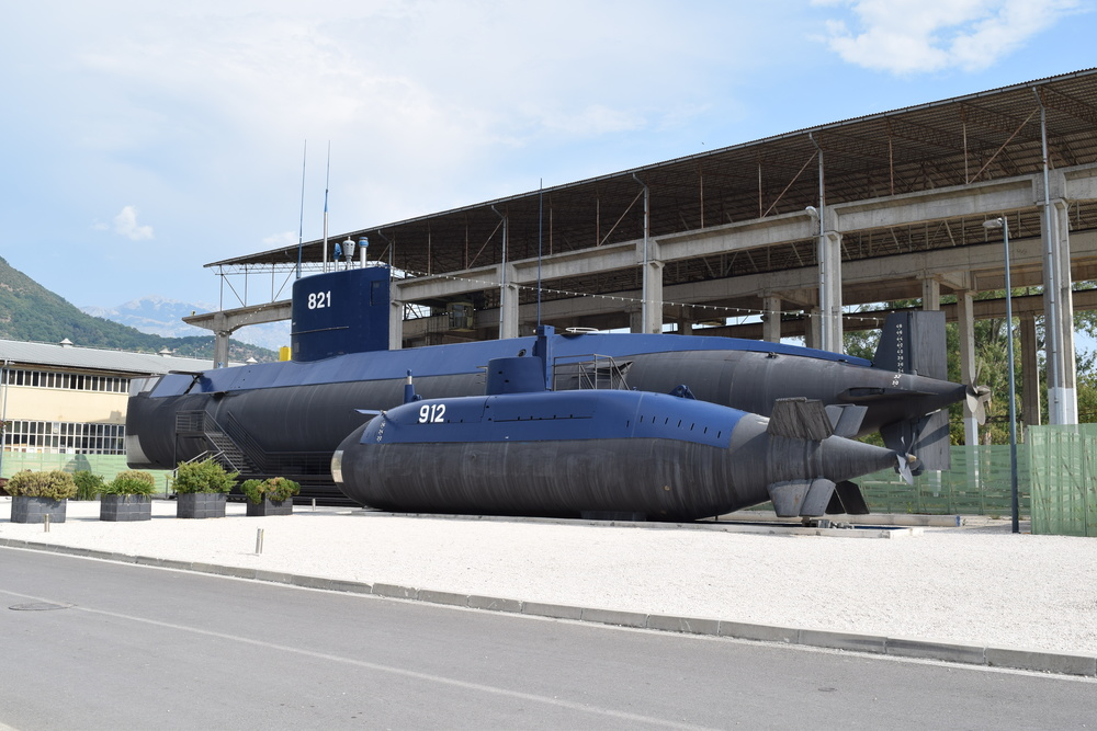 The Naval Heritage Collection's two submarines.  The larger one, P-821  Heroj , is open for tours.