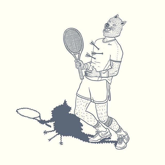🎾 #illustration #sketch #illustrator #lowbrow #lowbrowart #wolf #mask #awkward #tennis #linework