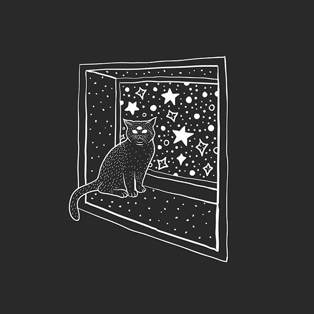 Super quick and super black.  #doodle #lowbrow #lowbrowart #illustration #cat #space #linework