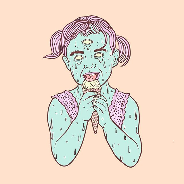 🍦 🍦 🍦  #illustration #illustrator #lowbrow #lowbrowart #linework #icecream #pastel #melt