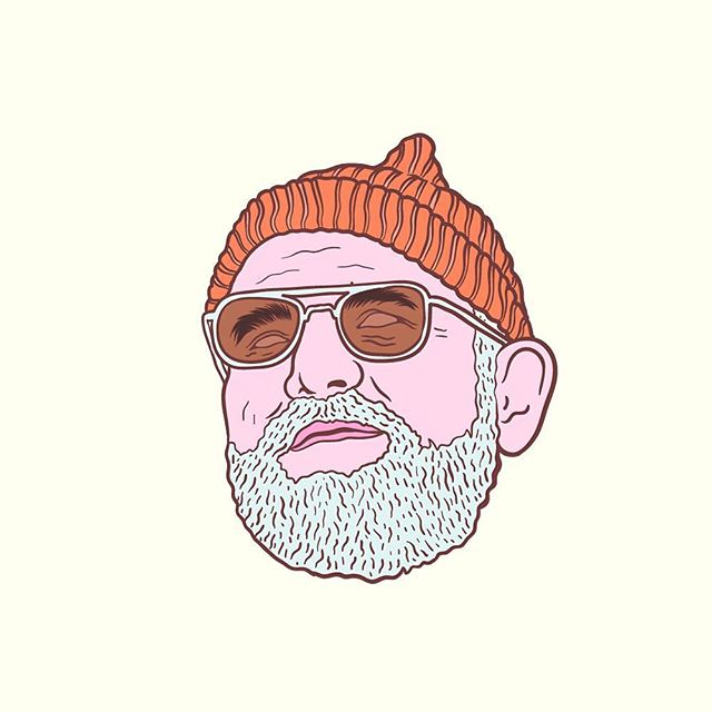 Bill Murray. #mancrushmonday forever.  #illustration #illustrator #doodle #linework #lowbrow #lowbrowart #popart #drawing #pastel #billmurray #lifeaquatic