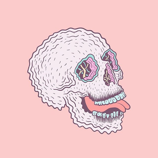 Lil skelly. 💀  #illustration #illustrator #lowbrow #lowbrowart #linework #skull #pastel #drawing