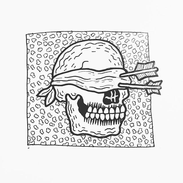 Super quick little sketch from a little while ago. Feeling too sick today to make any new personal work, but super thankful to have a job where I can work from home when I have crummy days.  #sketch #ink #pen #illustration #illustrator #blackwork #linework #doodle #skull