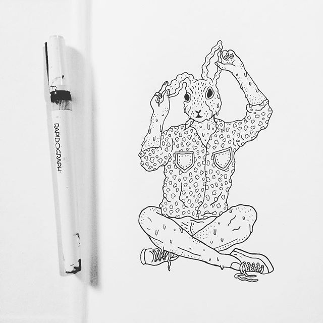 Breaking in a brand new sketchbook with a 🐰  #illustration #illustrator #lowbrow #lowbrowart #linework #sketchbook #pen #ink #bunny