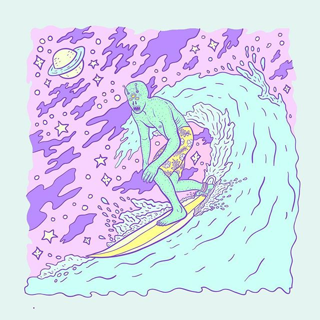 🏄👽 I really like the wave and water droplets on this but hate how the rest of this turned out. 😐 . . #illustration #illustrator #pastel #linework #lowbrow #lowbrowart #surf #alien