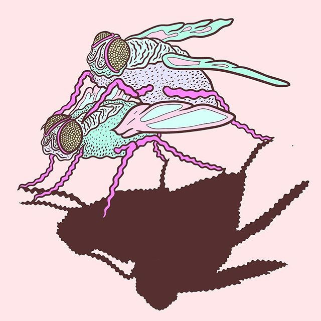 Some flies procreating for Detroit BB @darkerdaysillustration. HOPE YA LIKE FLIES JOSH. 💜💜💜 #illustration #illustrator #lowbrow #lowbrowart #linework #pastel #flies #darkerdaysporn