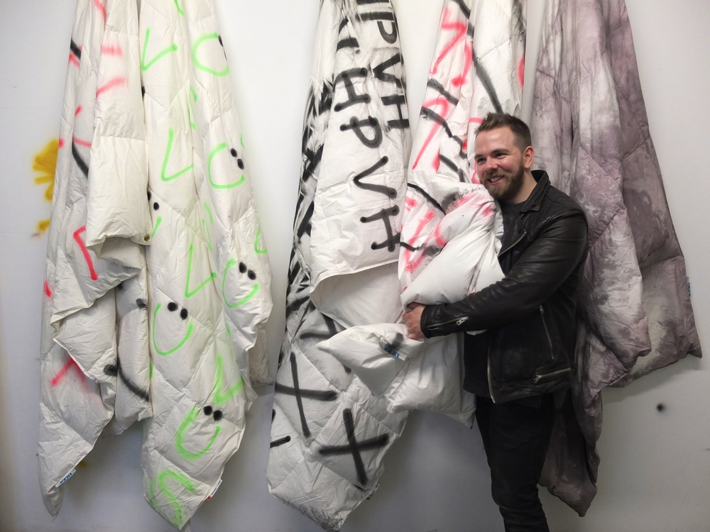 Mark with his duvet pieces