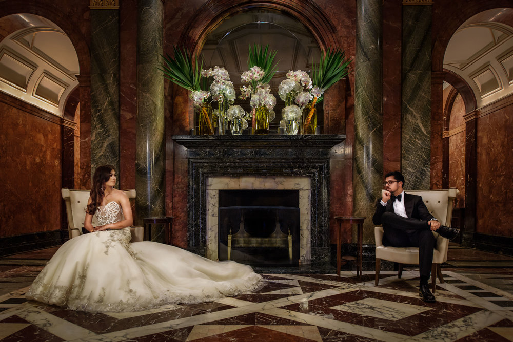 indian wedding couple Mandarin Oriental Knightsbridge